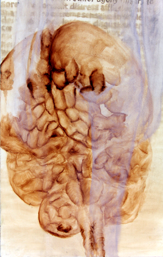 oil painting of sienna colored brain with figure ghost overlay