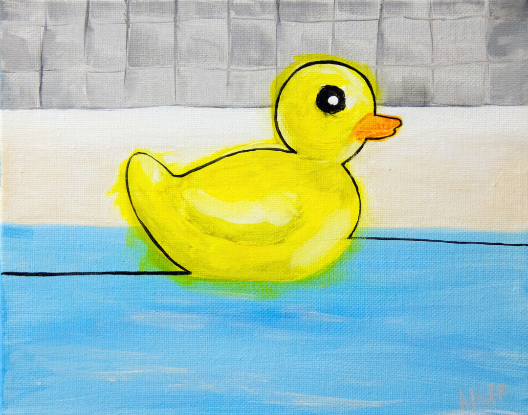 """Floating Along in the Clawfoot""  - Acrylic on Canvas - 8"" x 10"" painting by April Hoff, depicts a rubber duck floating in water with tile background"