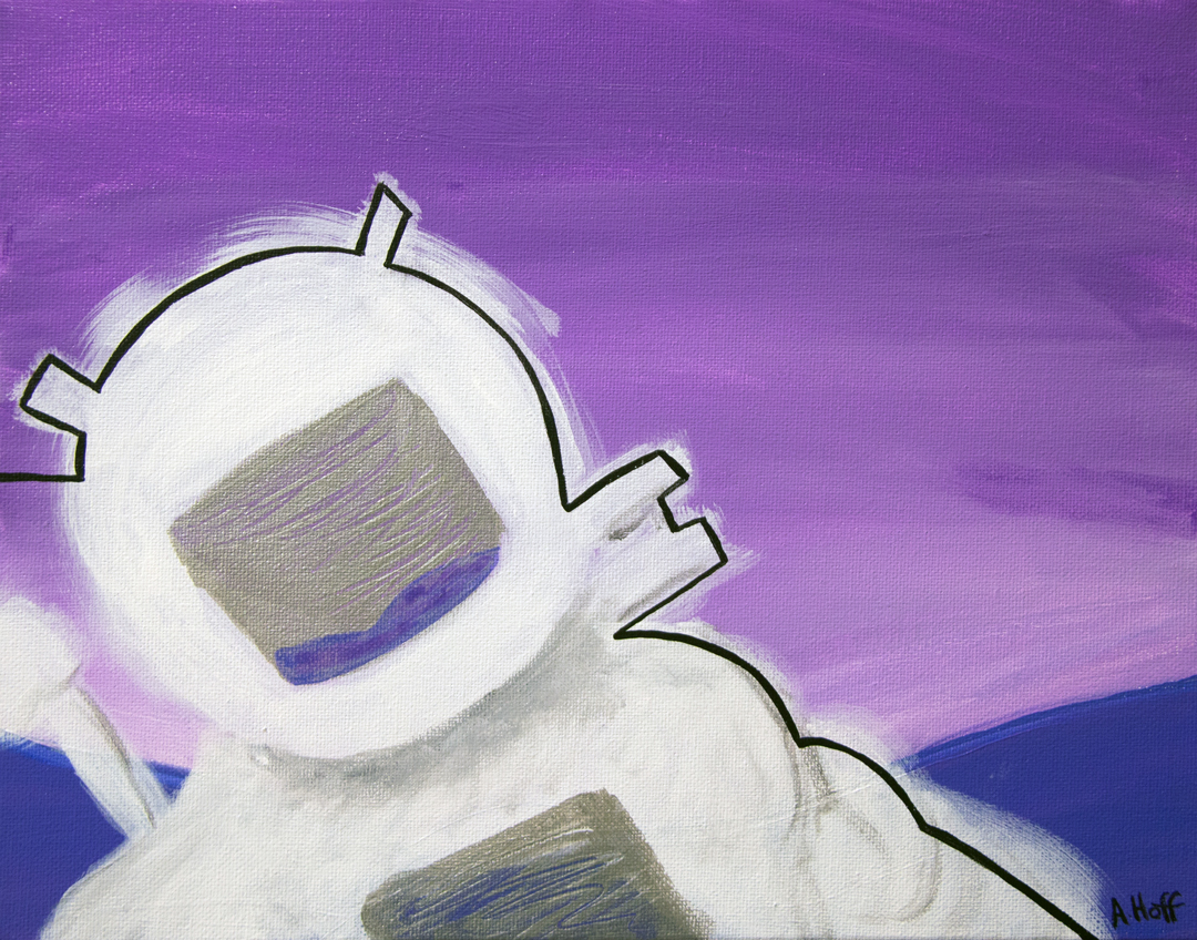"""The Urge to Escape was too Much"" - Acrylic on Canvas - 11"" x 14"" painting by April Hoff, depicts astronaut in purple landscape."