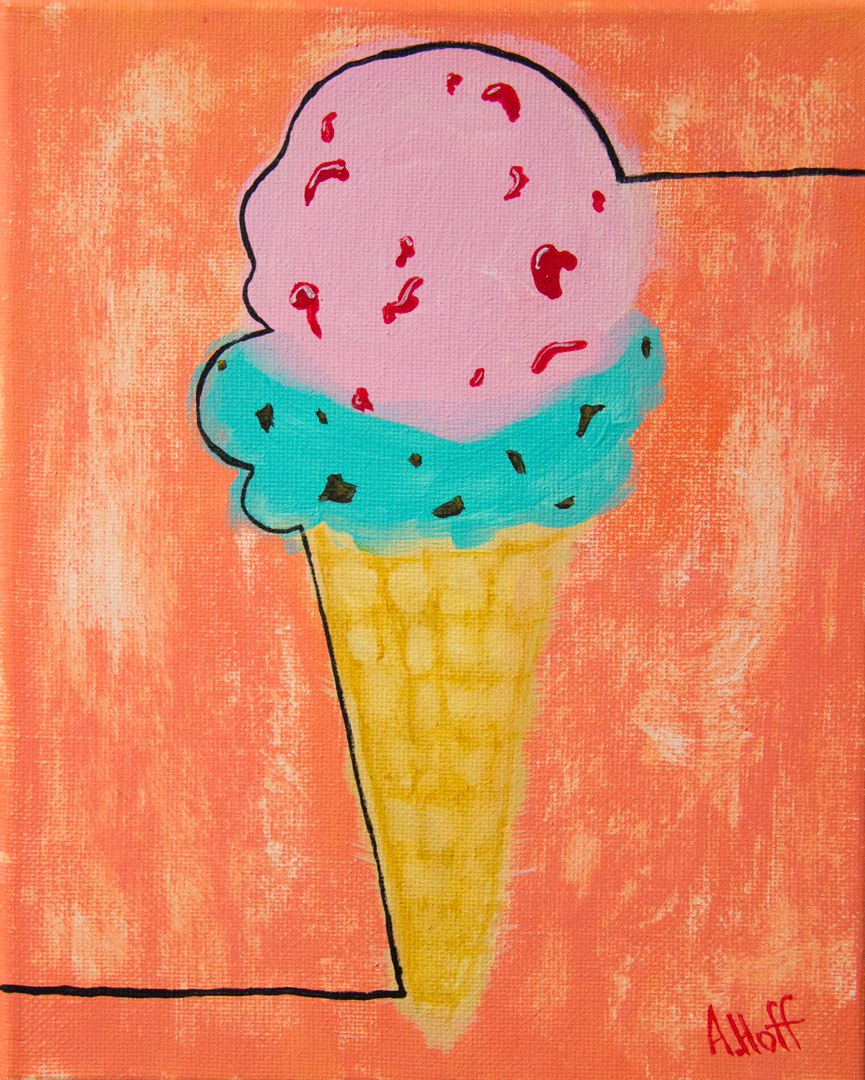 """Better than Cake"" - Acrylic on Canvas - 8"" x 10"" painting by April Hoff, depicts double scoop ice cream cone with mint chocolate chip and cherry scoops"