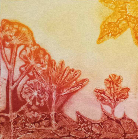 Monotype print of nature in reds, oranges and yellows by April Hoff.