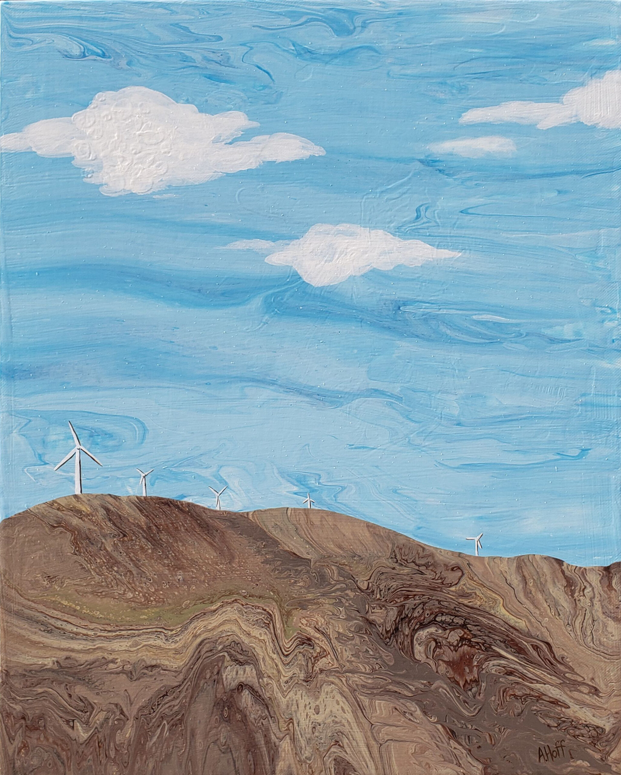 """""""Dust in the Wind"""" acrylic painting by April Hoff, depicts small wind turbines in an abstract landscape of blues and browns"""