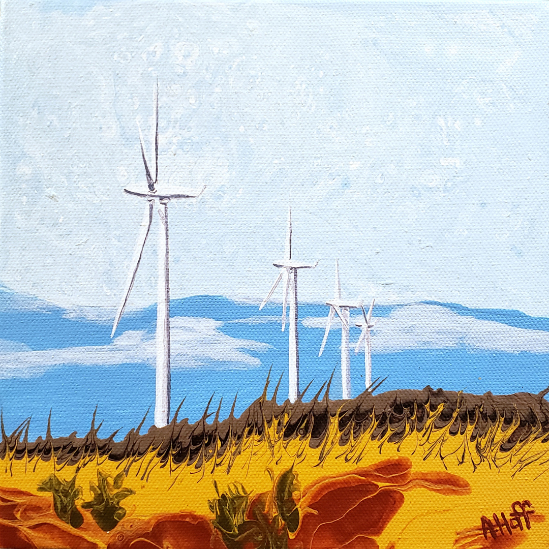 """""""Environmental Sentries"""" acrylic painting by April Hoff, depicts profile view of wind turbines in abstract landscape"""