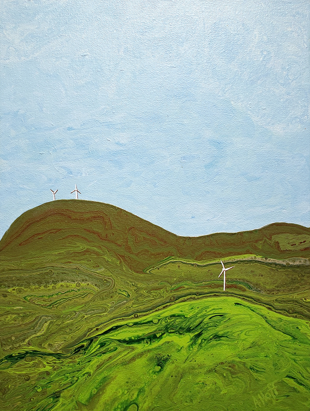 """""""The Hills Are Alive"""" acrylic painting by April Hoff, Wind Turbine Series"""