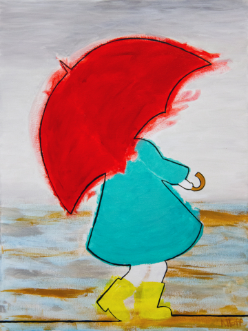 """It Wasn't a Fear of Getting Wet"" Acrylic on Canvas painting by April Hoff, depicts a brightly colored abstract of a person walking under a red umbrella"
