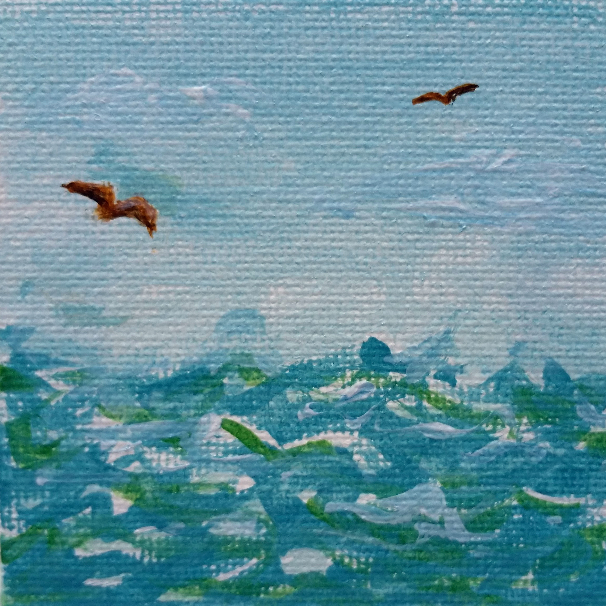 "Tiny Ocean - Acrylic on Canvas - 2.5"" square by artist April Hoff"