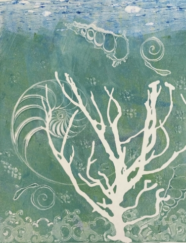 Monotype print of seascape by April Hoff.