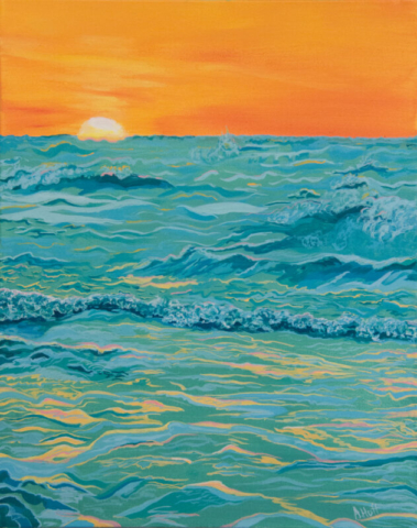Acrylic painting of ocean sunset by April Hoff