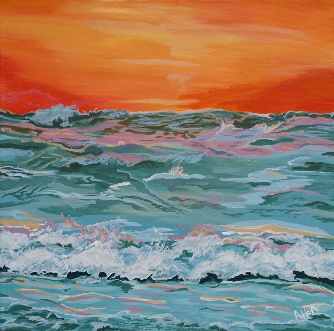 """Fire on Water"" - Acrylic 12 x 12 in. - April Hoff.filename: fireonwaterWeb"