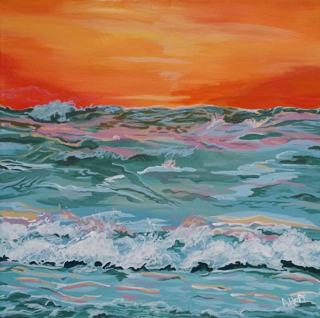 """Fire on Water"" - Acrylic 12 x 12 in. - April Hoff.filename: fireonwaterWeb"
