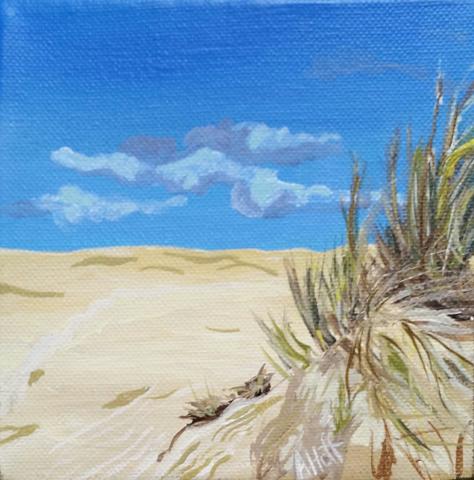 """Florence Dunes"" - Acrylic 5 x 5 in. - April Hoff. filename: florencedunesWeb"