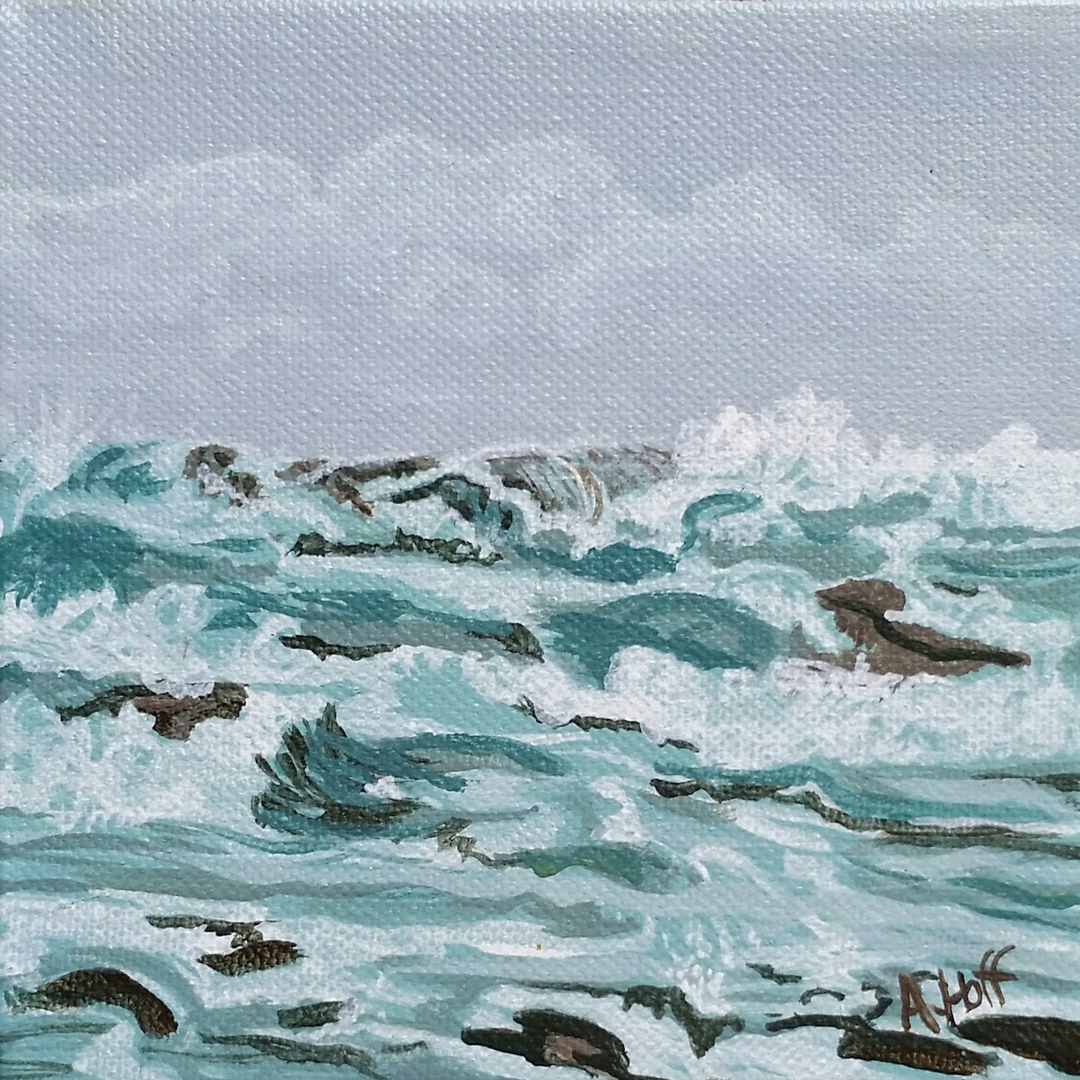 """Stormy Sea"" 5x5 in. acrylic on canvas by artist April Hoff. filename: stormyseaWEB"